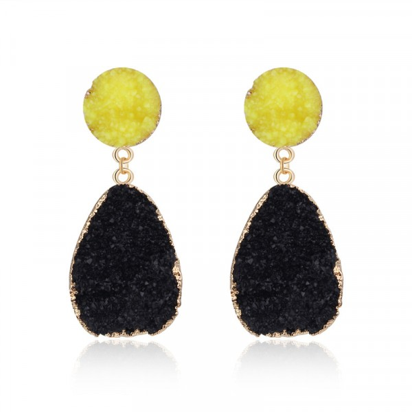 Black Yellow Druzy Quartz Crystal Round Stud Earrings