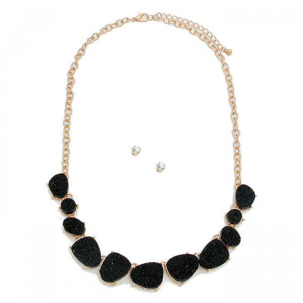 Black Druzy Stone Collar Gold Tone Necklace