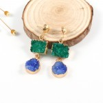 Green Blue Jewel Tone Geo Druzy Stone Drop Earrings