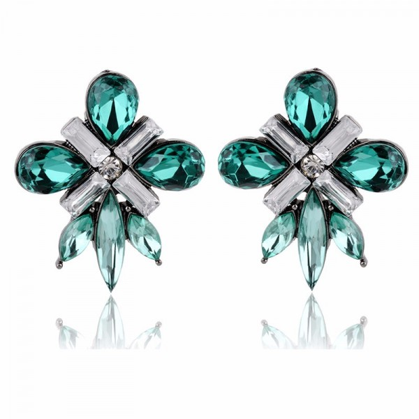 Emerald Green Starlet Crystal Gems Stud Earrings