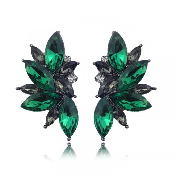 Emerald Green Crystal Stone Burst Statement Earrings