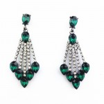 Emerald Green Crystal Cascade TearDrop Earrings
