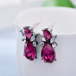 Neon Pink Teardrop Crystal Hematite Stud Earrings