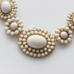 Ivory Sun Bloom Cabochon Statement Bauble Necklace