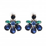 Jewel Tone Blue Green Crystal Bloom Stud Earrings