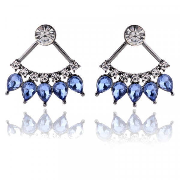Blue Crystal Marquise Pendulum Stud Earrings