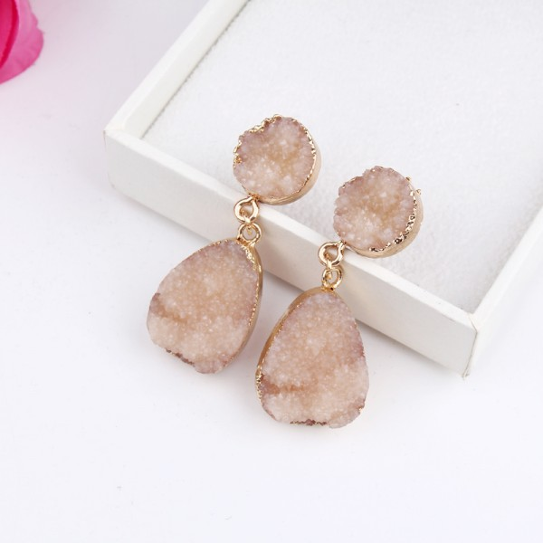 Ivory Druzy Quartz Crystal Oval Stud Earrings