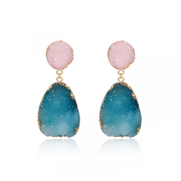 Pastel Pink Blue Druzy Quartz Crystal Drop Earrings