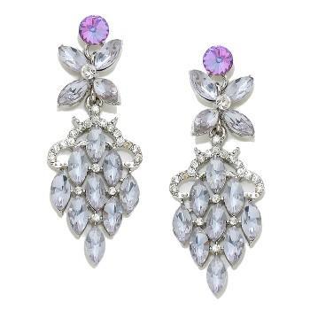 Lilac Bloom Chandelier Crystal Bridal Dangle Earrings