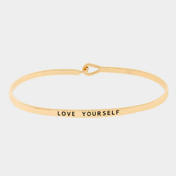 Love Yourself Simple Dainty Gold Tone Bracelet
