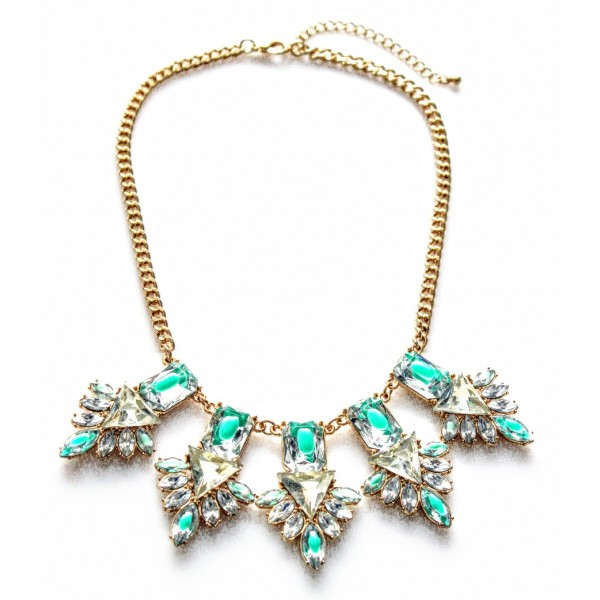 Geometric Glass Stone Floral Statement Necklace