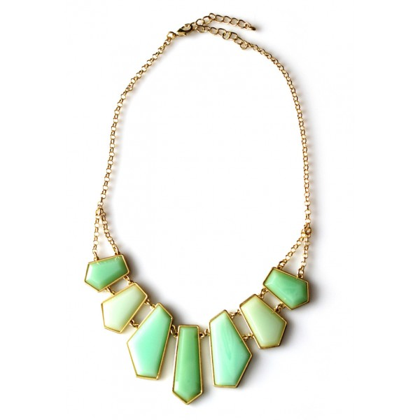 Mint Geo Faceted Gemstone Gold Tone Statement Necklace