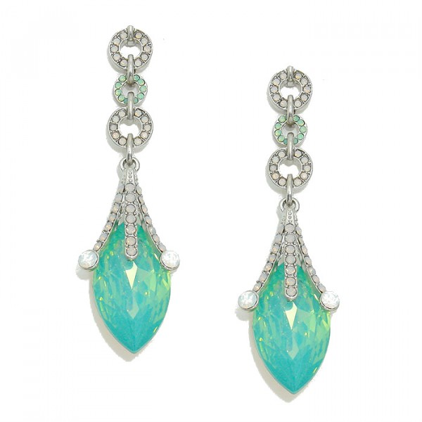 Queen's Glass Jester Pacific Opal Crystal Drop Earrings