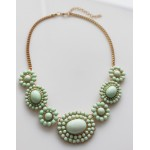 Mint Cabochon Bauble Sun Bloom Statement Necklace