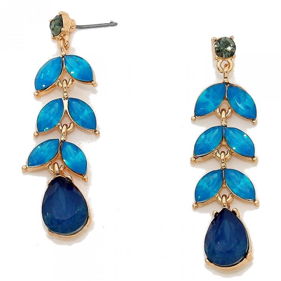 Montana Blue Floral Leaf Gemstone Opal Earrings