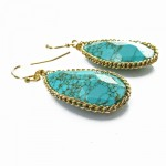 Theon Howlite Turquoise Marble Teardrop Stone Earrings