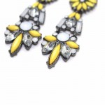 Boho Neon Yellow Geo Crystal Drop Earrings