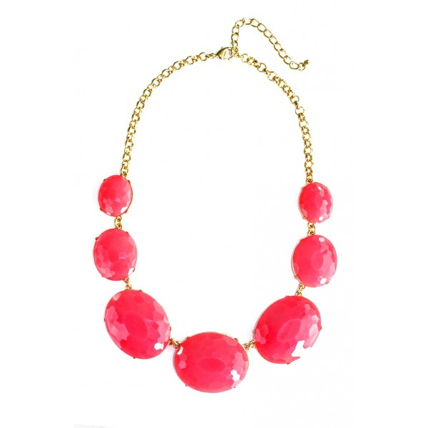 Hot Pink Faceted Oval Bauble Dots Necklace