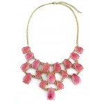 Anselle Rose Pink Lucite Marble Teardrop Bib Necklace