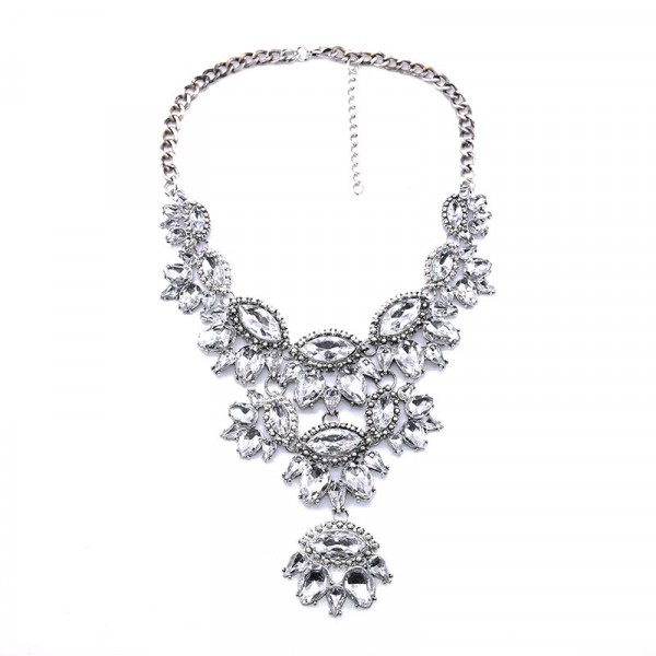 Nightscape Crystal Clear Floral Stone Silver Tone Necklace