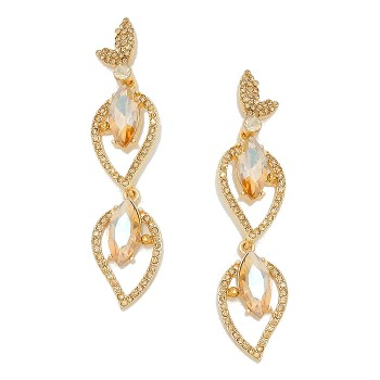 Light Topaz Aurora Petal Pave Drop Bridal Earrings
