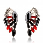 Black Red Fan Stone Burst Statement Earrings