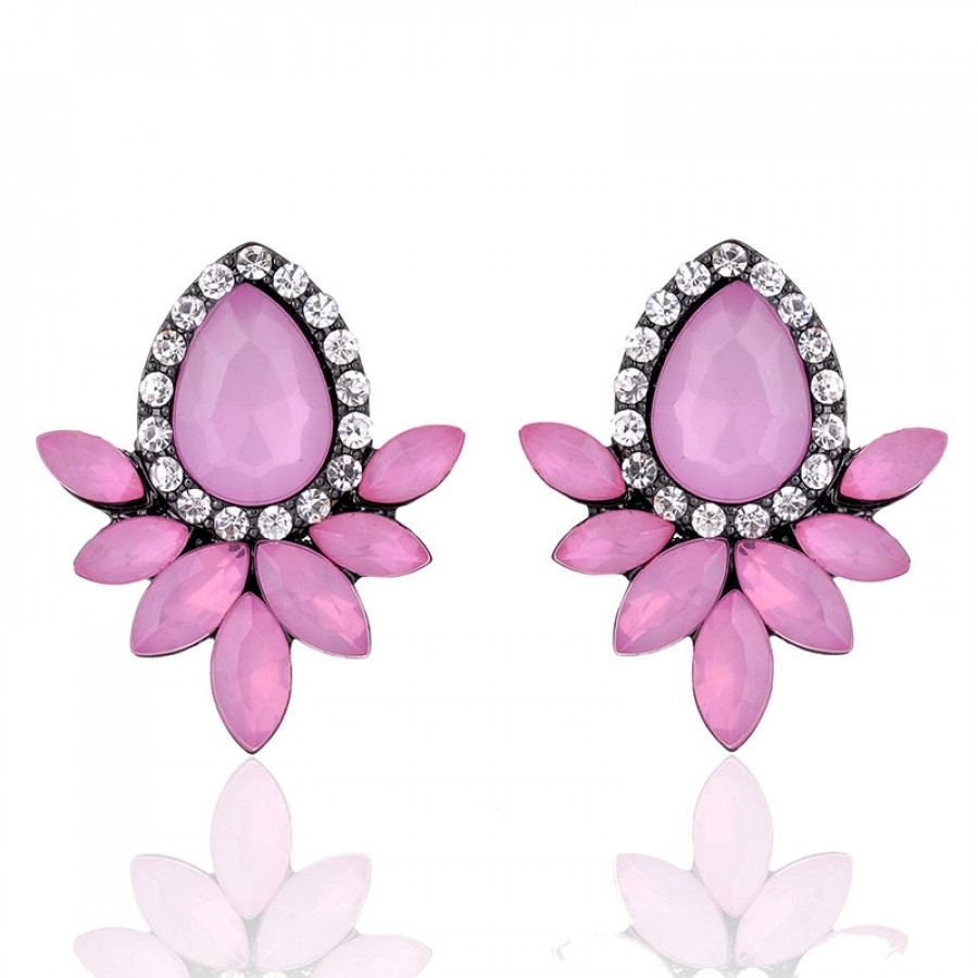 bloom sterling pale silver for magnolia earrings cz jewelry products women pink cerise enamel stud
