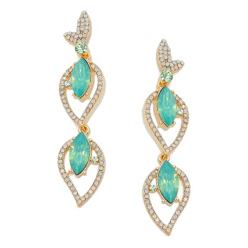 Pacific Mint Opal Crystal Rhinestone Marquise Petal Stud Earrings