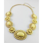 Butter Yellow Cabochon Sun Bloom Bauble Necklace