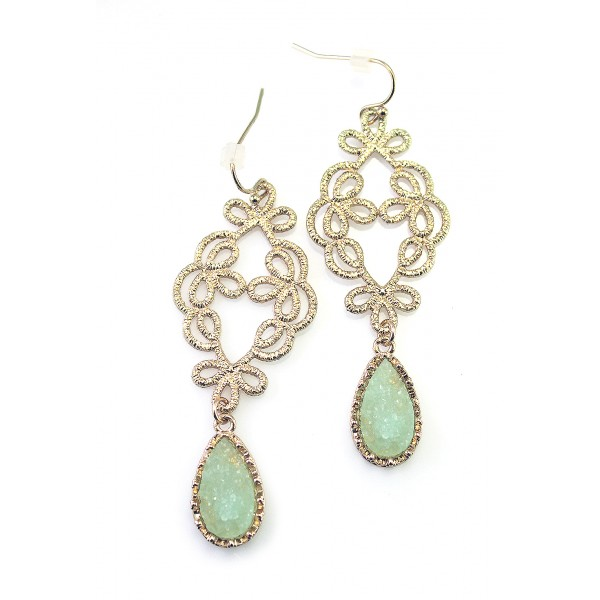 Chalcedony Green Pastel Teardrop Druzy Stone Filigree Earrings