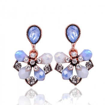 Pastel Blue Petal Pearlescent Opal Drop Stud Earrings