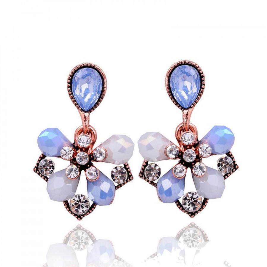 208526ea7 Pastel Blue Petal Iridescent Opal Drop Statement Stud Earrings