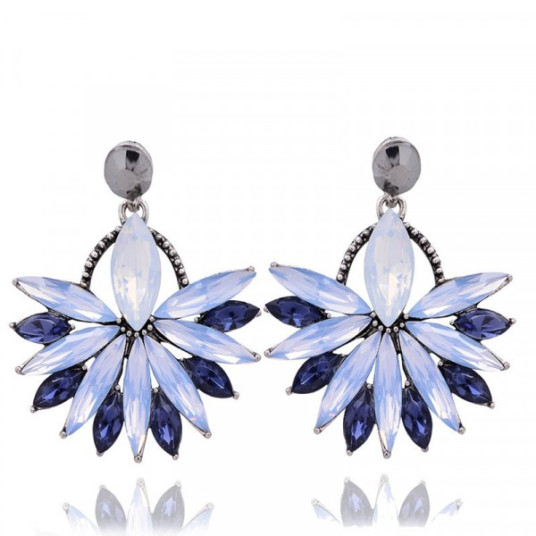 Opal Periwinkle Marquise Crystal Fan Drop Stud Earrings