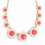 White Daisy Floral Bauble Pink Corolla Necklace