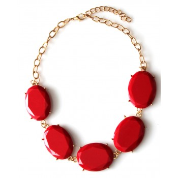 Red Oval Polka Gem Collar Gold Tone Necklace