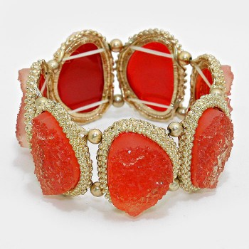 Red Geode Druzy Stone Gold Tone Statement Bracelet