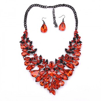 Ruby Red Crystal Marquise Ornate Statement Necklace