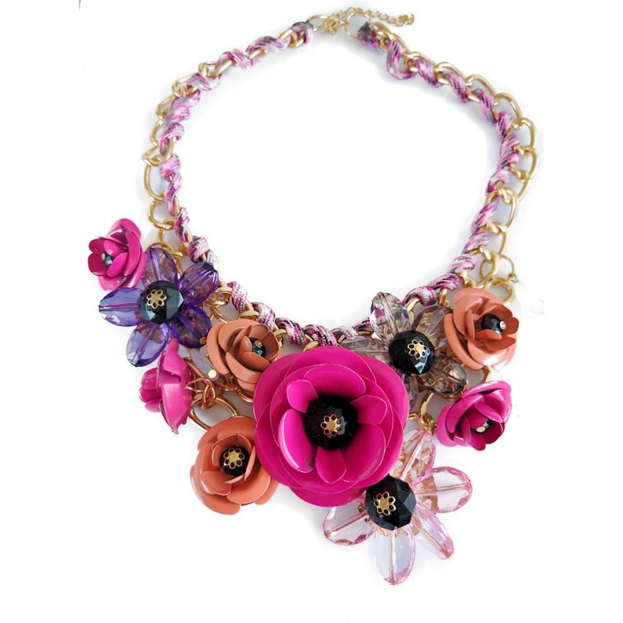 Rose ombre bouquet 3d floral stone fashion bib statement necklace ombre pink rose bouquet 3d statement necklace audiocablefo