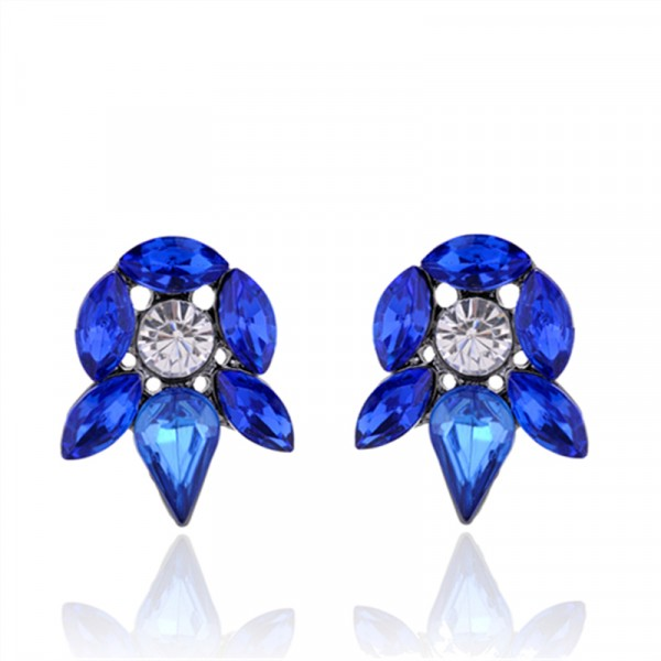 Sapphire Blue Crystal Gems Floral Studs