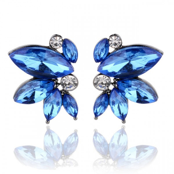 Sapphire Blue Crystal Marquise Wing Stud Earrings