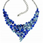 Sapphire Blue Lux Glam Marquise Statement Necklace  Set