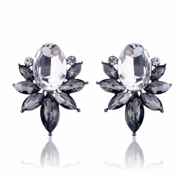 Smokey Gray Crystal Angel Wing Stud Earrings