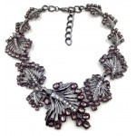 Smokey Grey Stone Laurel Bib Necklace