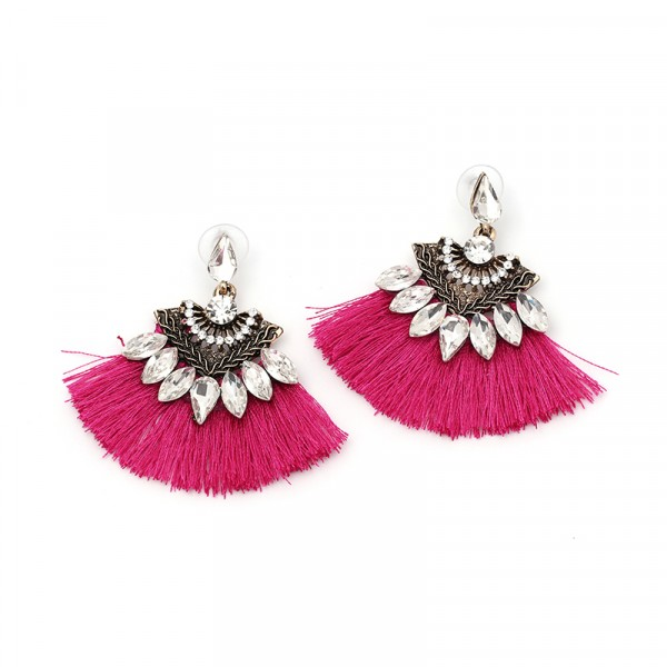Neon Pink Tassel Crystal Drop Statement Earrings