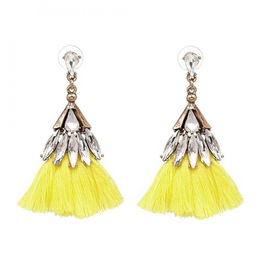 Neon Yellow Tel Crystal Drop Statement Earrings