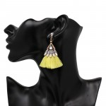 Neon Yellow Tassel Crystal Drop Statement Earrings