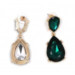 Emerald Teal Crystal Gold Teardrop Statement Earrings