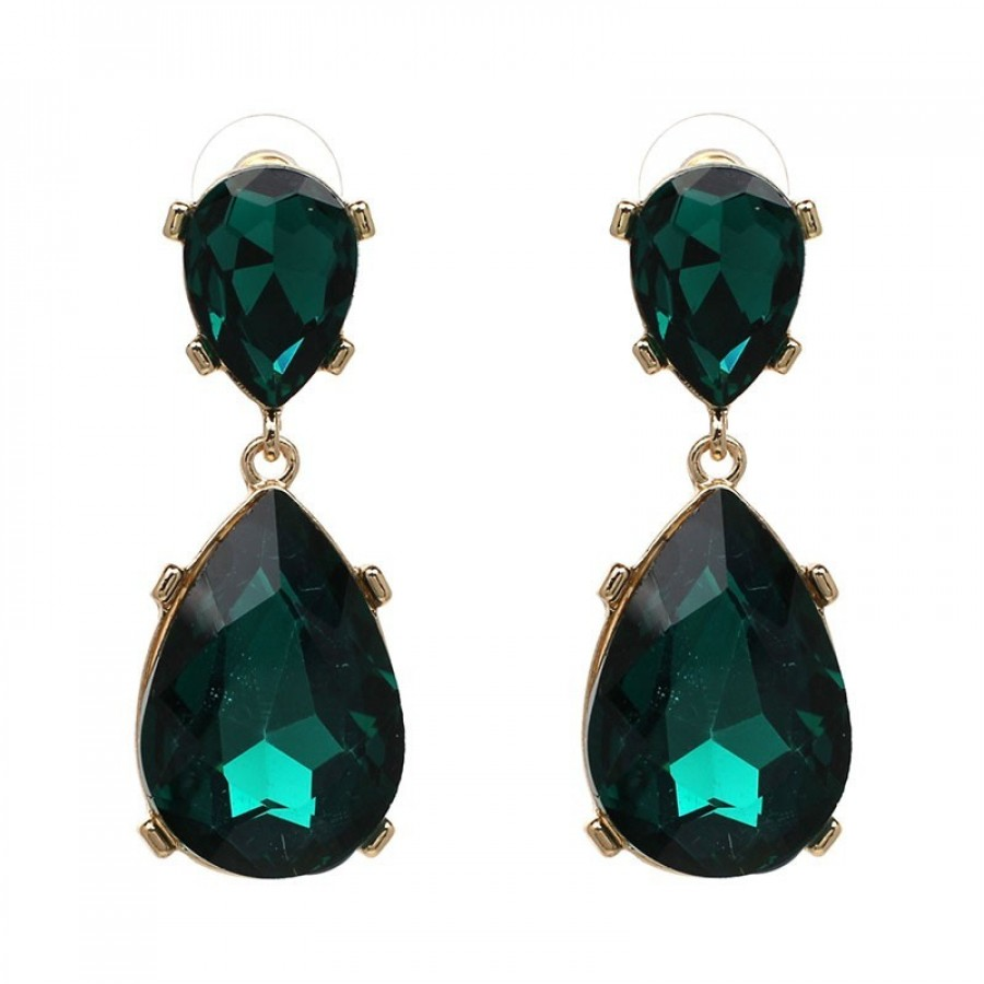 Brand-new Emerald Teal Crystal Gold Teardrop Statement Earrings Jolie at  KM42