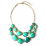 Mint Turquoise Geo Fragment Double Row Statement Necklace