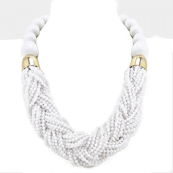 White Braided Multi-strand Statement Necklace